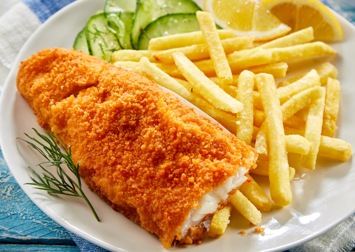 Portion of crispy fish with chips